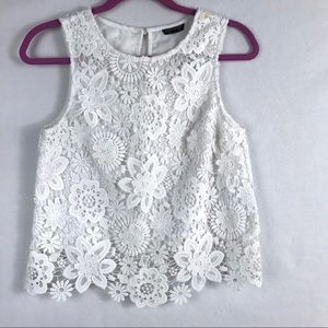 Topshop Women's White Floral Lace Tank Top Size 4